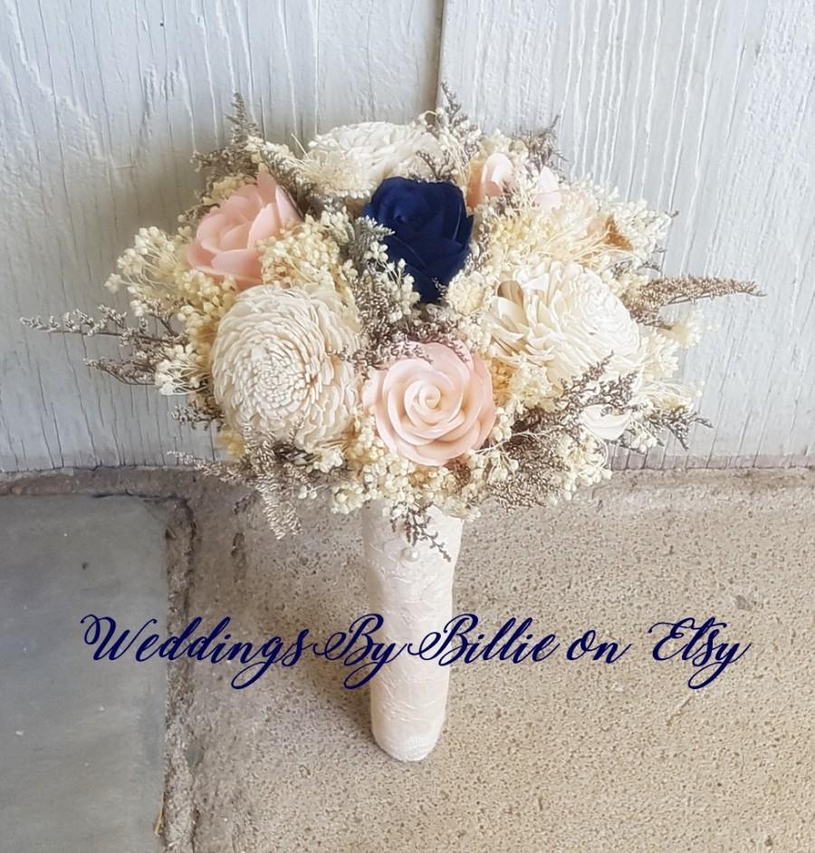 Navy Blush Ivory Sola Bouquet Fall Bouquets Navy Blue Sola Bouquet