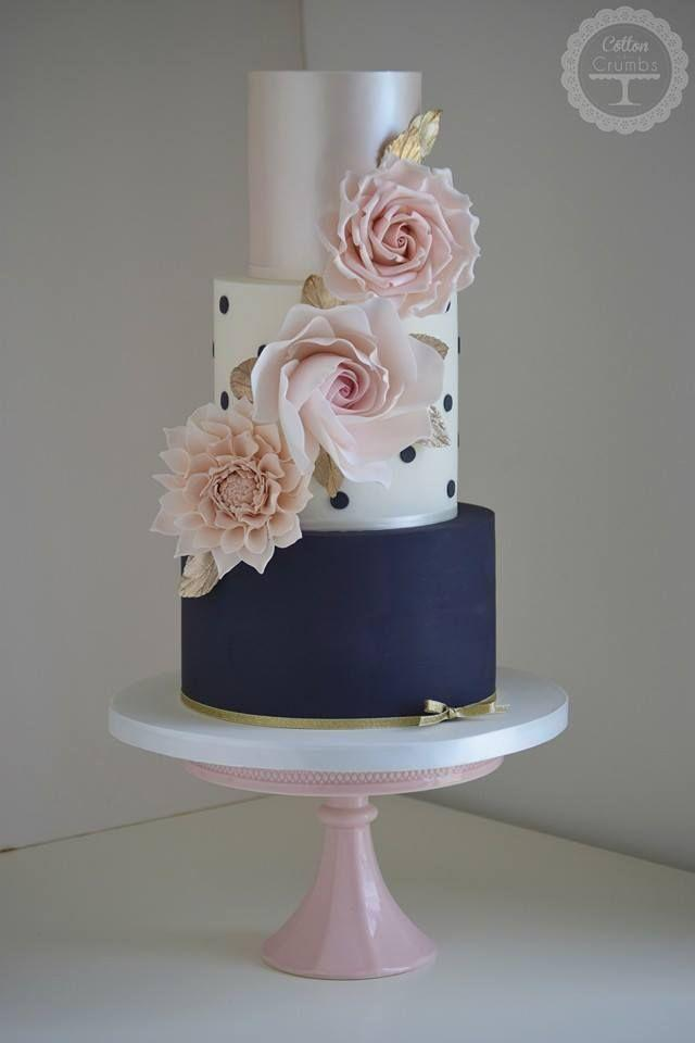 زفاف - Polka Dot Floral Cake