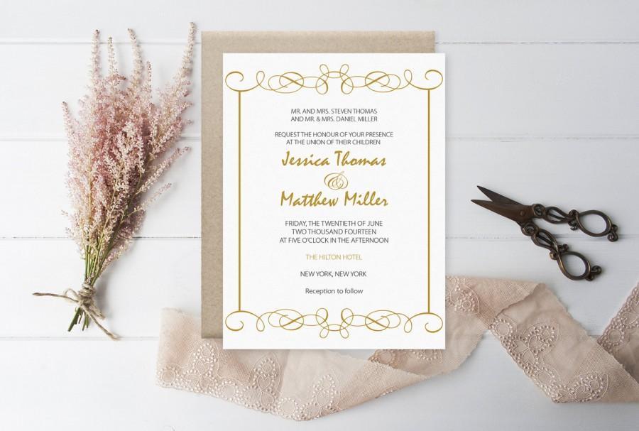Mariage - Elegant Swirls (Gold) Printable Wedding Invitation PDF Template - DIY Printable Wedding Invitation Editable PDF Template - DiY You Print - $8.00 USD