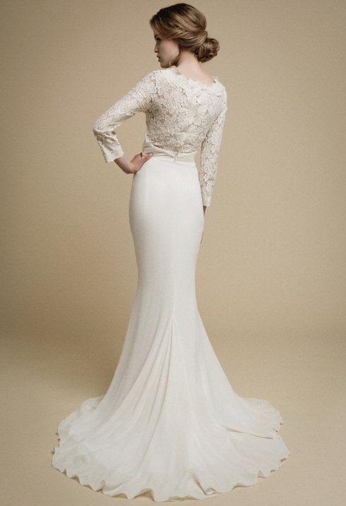 Apakena Long Sleeve Wedding Dress Boho Wedding Dress Lace Wedding
