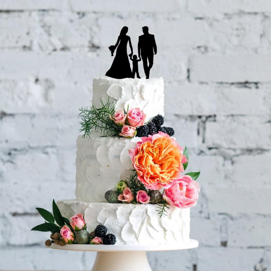 Mariage - Wedding Couple with Son Cake Topper