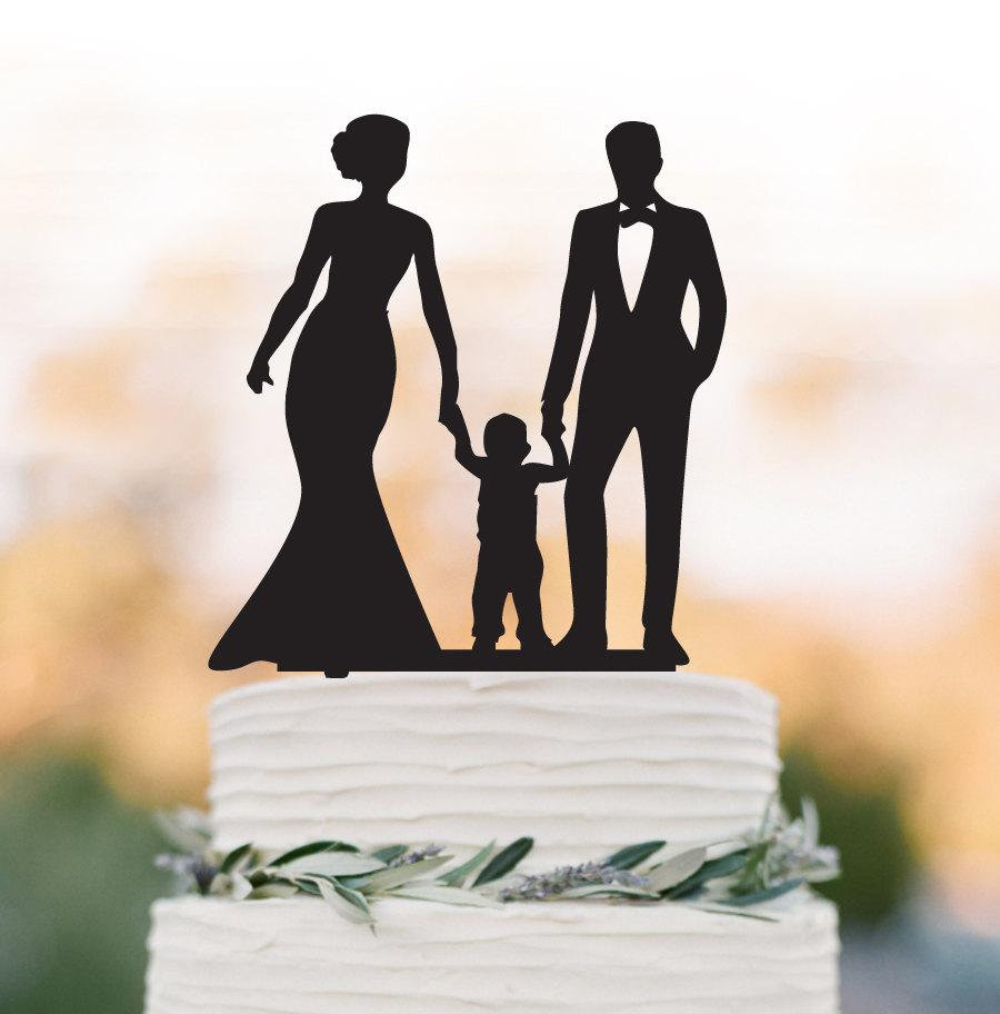 Mariage - Family Wedding Cake topper with child, bride and groom wedding cake topper with little boy, funny wedding cake topper with kid,