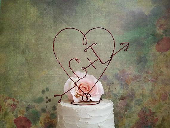 Rustic Wedding HEART And ARROW Cake Topper Monogram Decoration Centerpiece