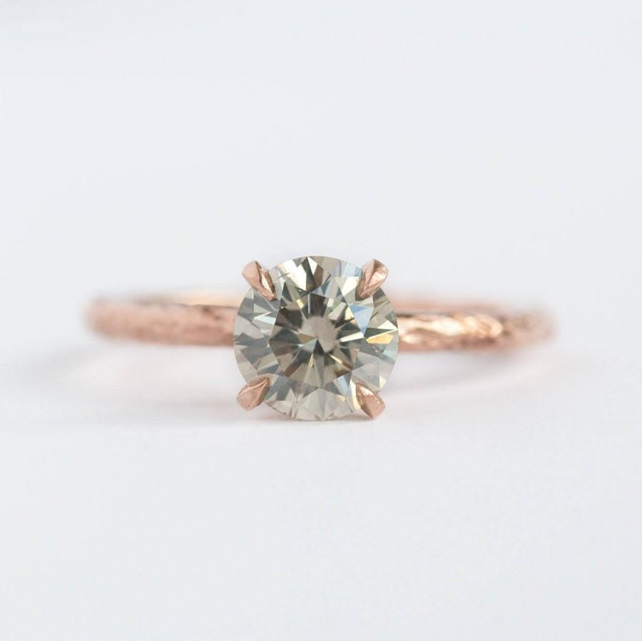 Rose Gold Round 12ct Grey Diamond Engagement Ring Anic Textured  Handmade Silver Grey Diamond Solitaire Ring By Anueva Jewelry