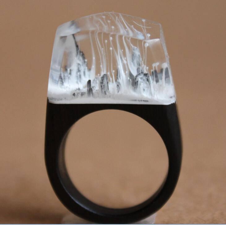 Snowy Mountain Resin Ring Wood Wood Resin Rings