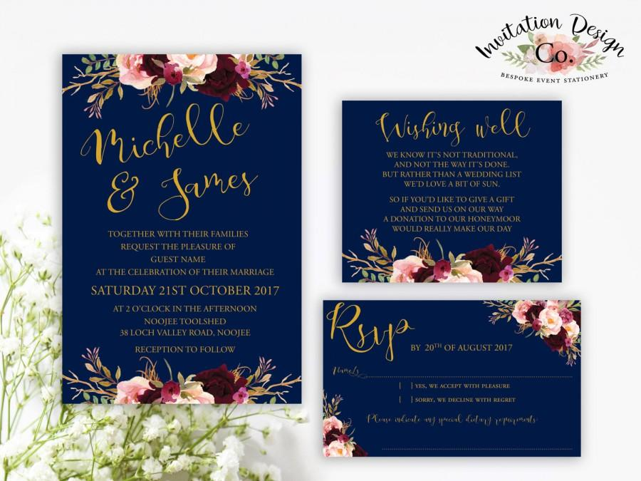Mariage - Digital Wedding Invitation NAVY GOLD and BOHO burgundy floral watercolour wedding invitation design.