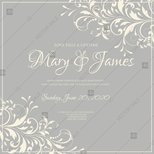 Wedding Invitation Vintage Card With Floral Ornament With Flower For