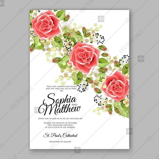 Mariage - Red rose wedding invitation vector flowers template card