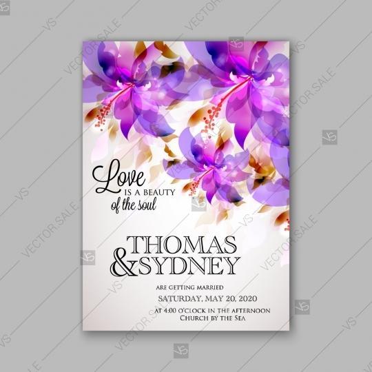 Wedding - Romantic pink hibiscus peony bouquet bride wedding invitation template design