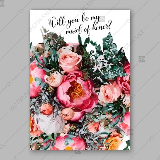 Hochzeit - Pink Peony wedding vintage invitation vector card template