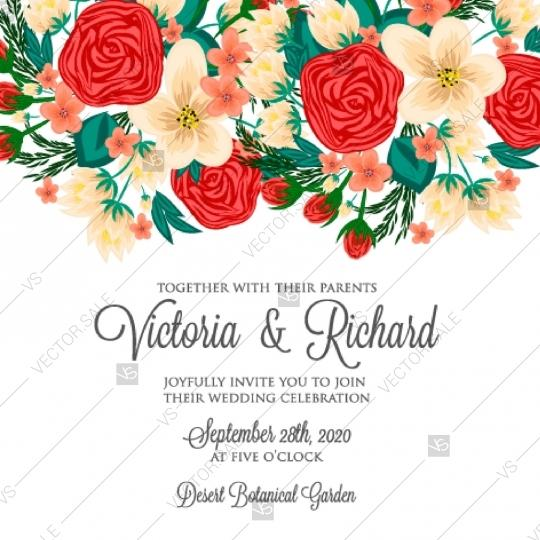 Hochzeit - Red roses and daisy wedding invitation printable vector template