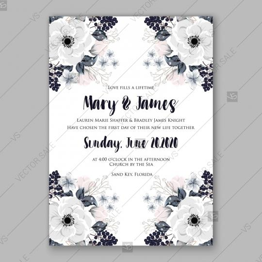 Wedding - Anemone Wedding Invitation Card Vector Template