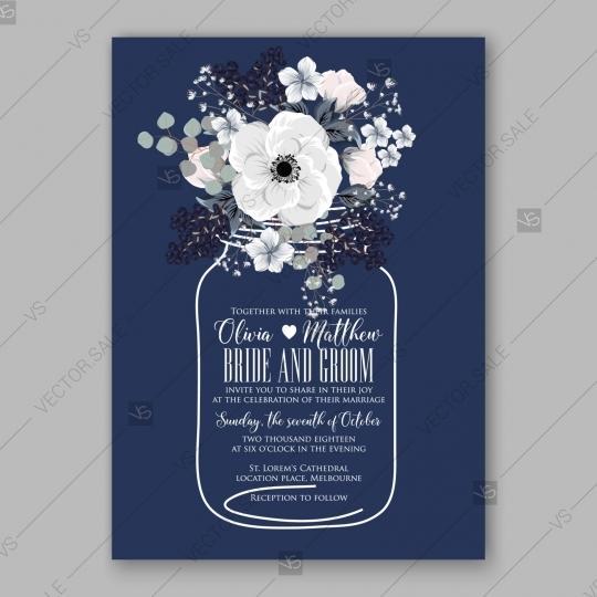 Wedding - Anemone Wedding Invitation Card Vector Template