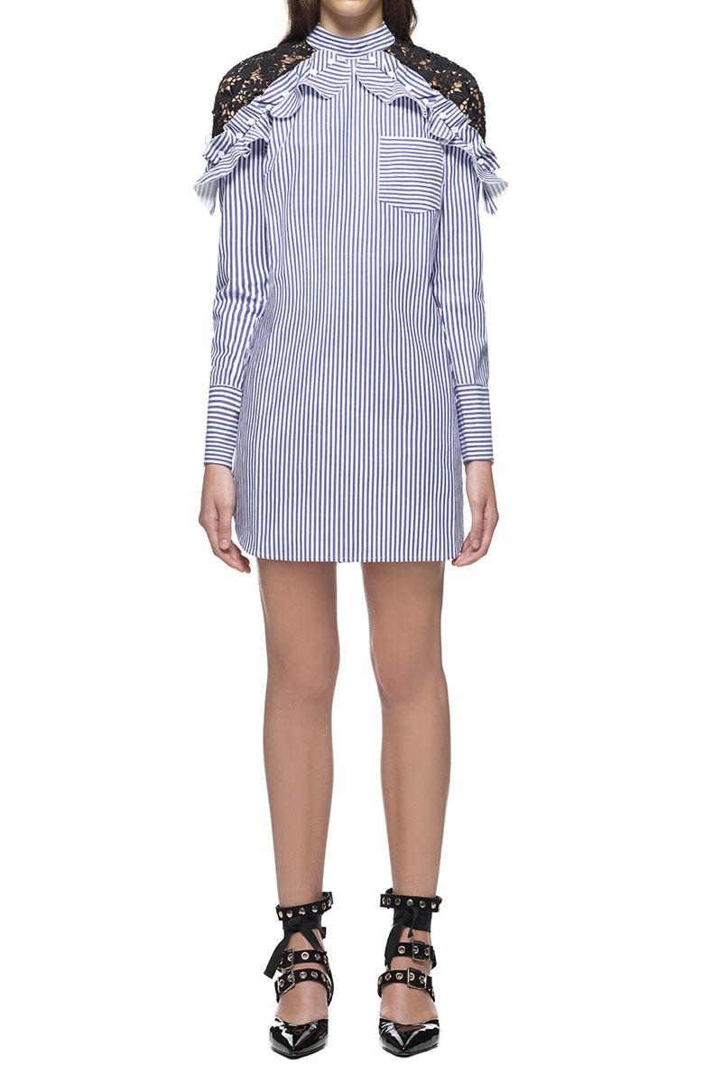 Hochzeit - Self Portrait Lace Shoulder Striped Shirt Dress