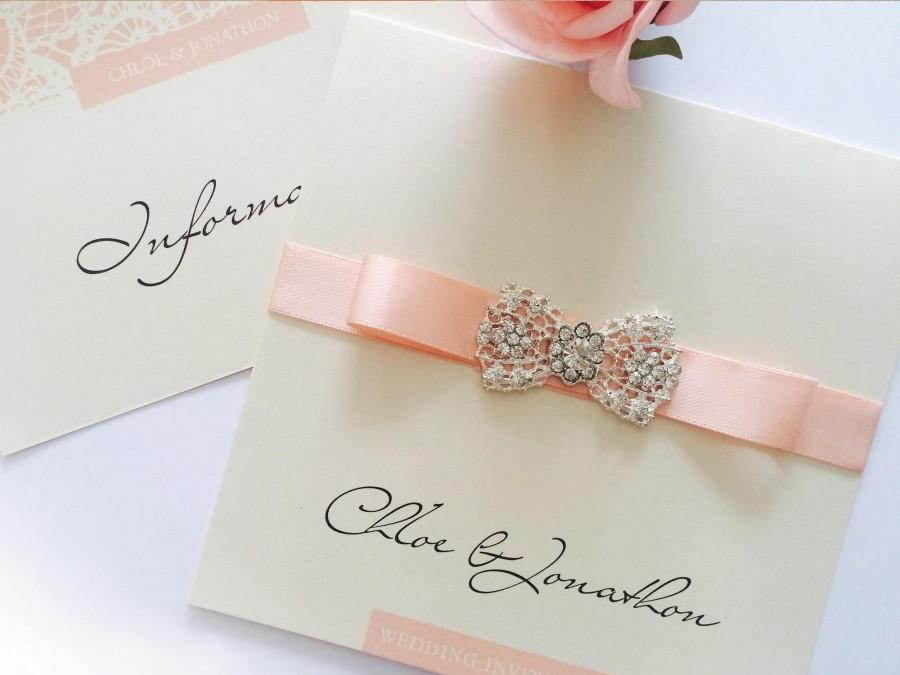 Mariage - Elegance Wedding Invites in cream and coral