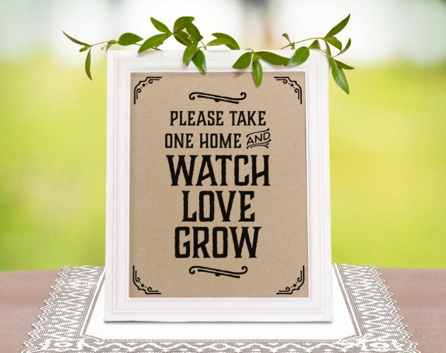 Mariage - Wedding favor sign, please take one sign. Rustic wedding decor. Wedding reception. Printable wedding decorations. Rustic party supplies.