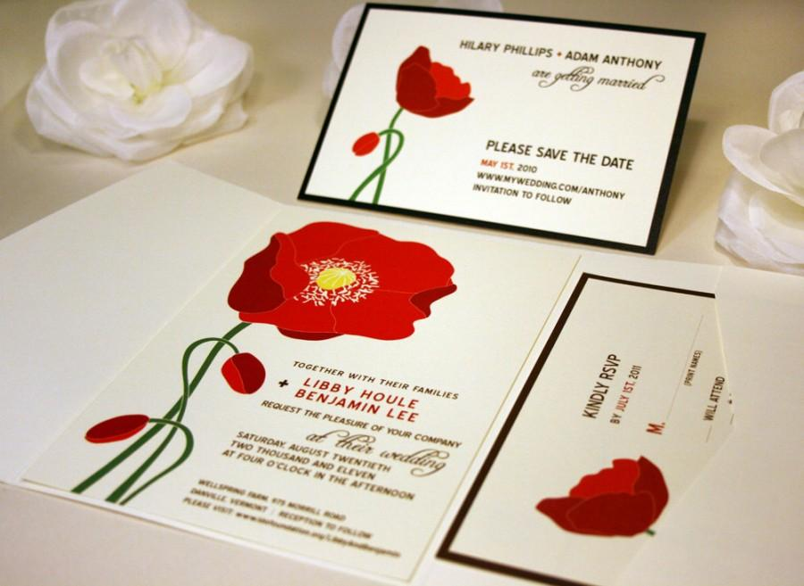 Mariage - Red Poppy Wedding Invitation Suite, Floral Wedding Invitation Set, Orange Flower, California Poppy Invitations