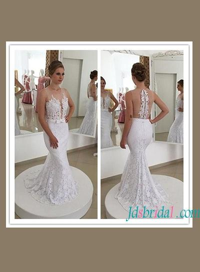 Wedding - Sexy sheer back illusion lace mermaid wedding dress