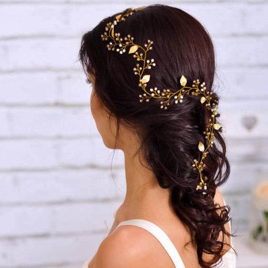 Свадьба - Bridal headpiece Wedding head piece Wedding hair vine Bridal hairpiece Tiara headband woman Wedding hair band Grecian gold leaf hair vine