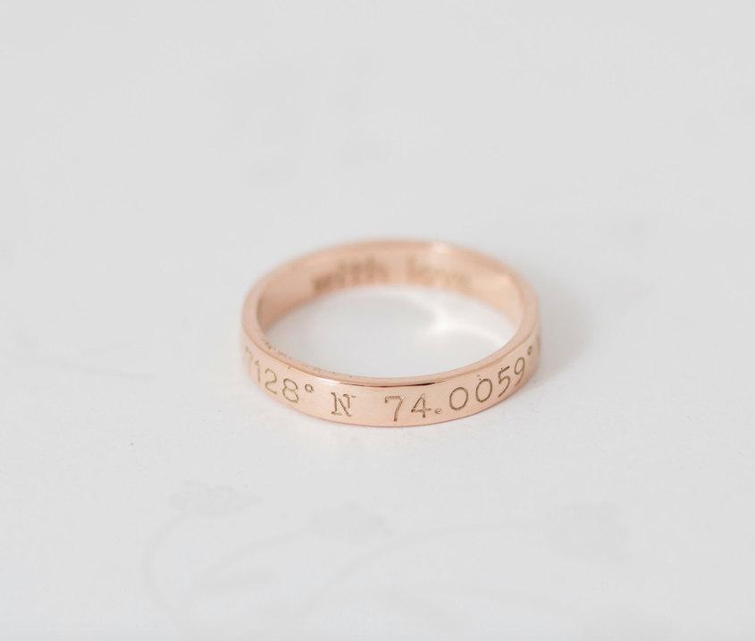 زفاف - 30% OFF- Custom Coordinates Ring- LATITUDE- LONGITUDE Ring- Coordinate Jewelry- Coordinates Ring- Stackable band ring- Mother's Gift