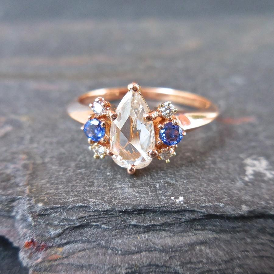 زفاف - Pear Diamond Ring, Pear Shaped Diamond Engagement Ring,  White Rose cut Diamond Ring, Diamond and Sapphire Ring, Rose Gold, One of a Kind,