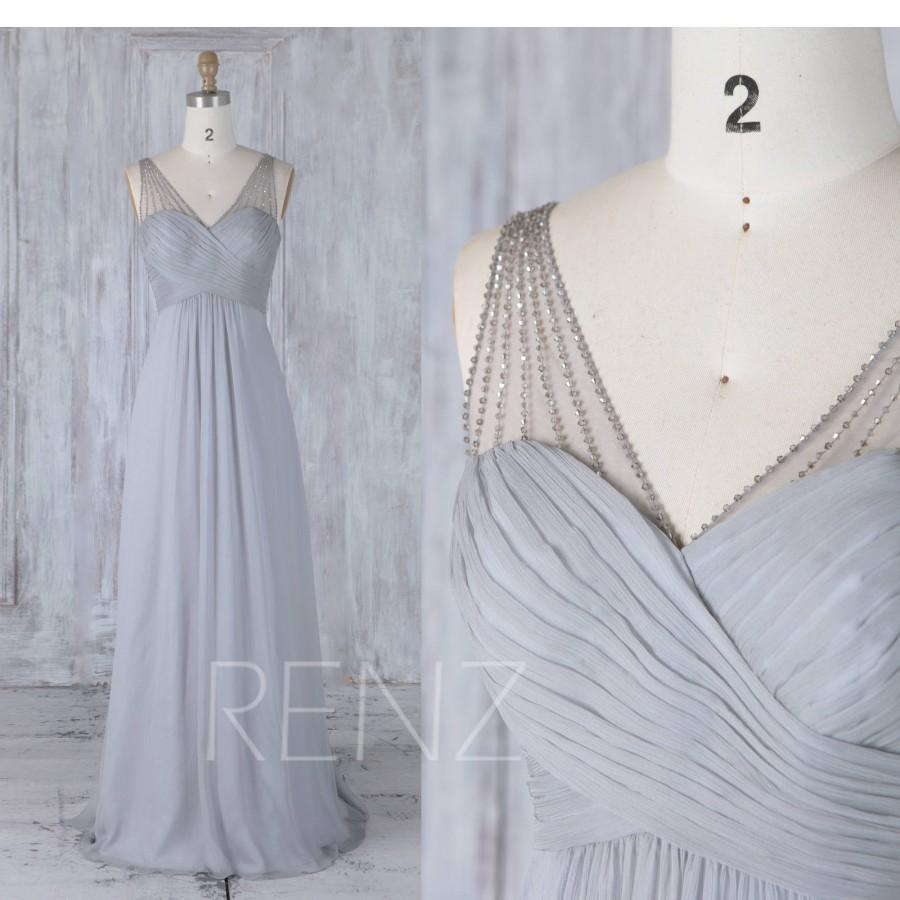 زفاف - 2017 Gray Chiffon Bridesmaid Dress, Bead Straps Wedding Dress, Ruched Sweetheart Prom Dress Empire Waist, Ball Gown Floor Length (J208)
