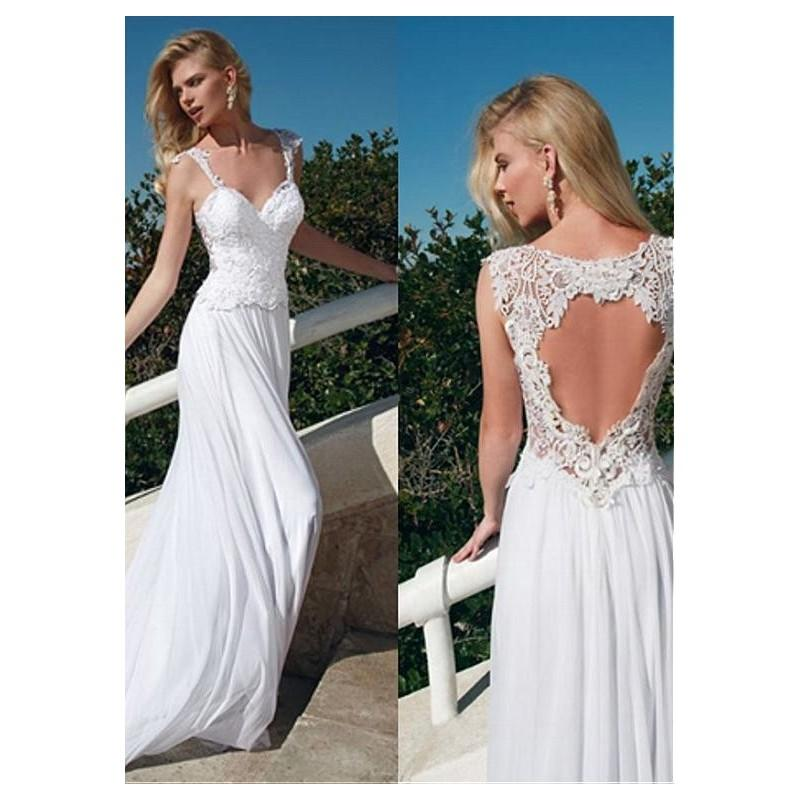 Mariage - Stunning Chiffon V-neck Neckline Sheath Wedding Dresses with Lace Appliques - overpinks.com