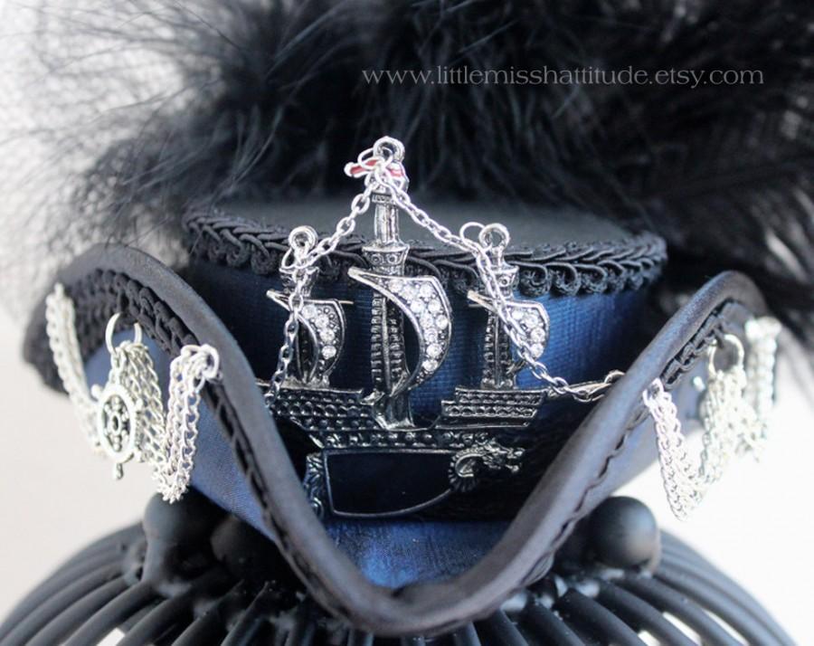Свадьба - Mini Tricorn ,Mini Tricorn Hat, Bleu Hat, Pirate Costume, Tricorn Ship Hat, Nautical Mini Hat, Sailor Costume, Mad Hatter Hat,Tea Party Hat