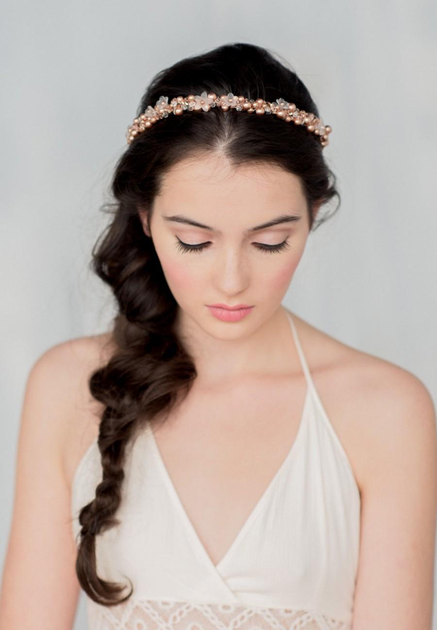 Wedding - Rose Gold  Bridal Crown, Bridal Accessory, Circlet halo, Crystal Tiara, Crystal Halo, Wedding headband, Pearl Hairpiece, Crystal halo, SOFIA