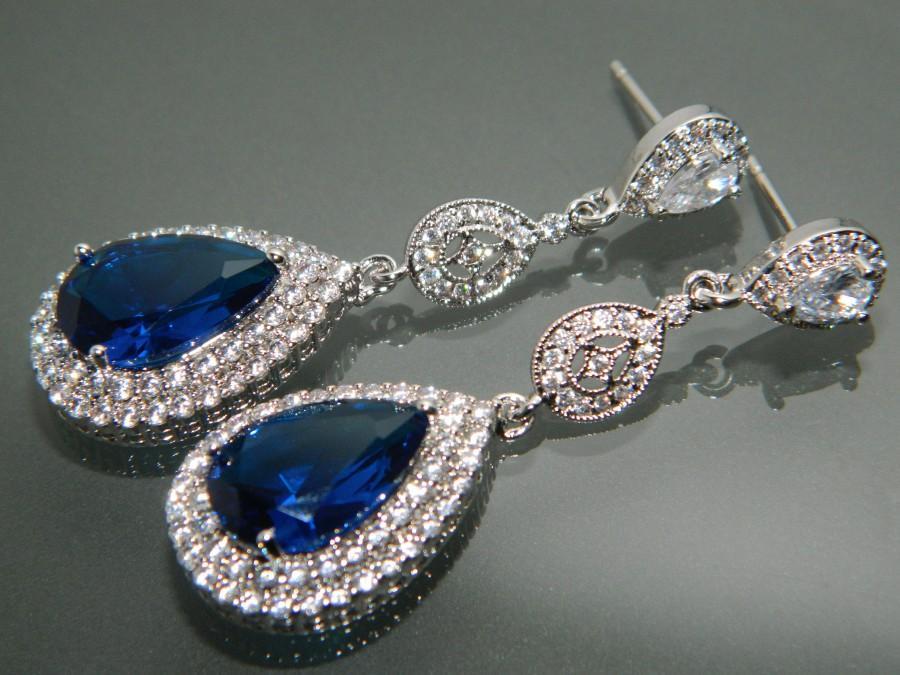 Bridal Royal Blue Chandelier Earrings Navy Cz Wedding Dark Silver Jewelry Halo Crystal 35 90 Usd
