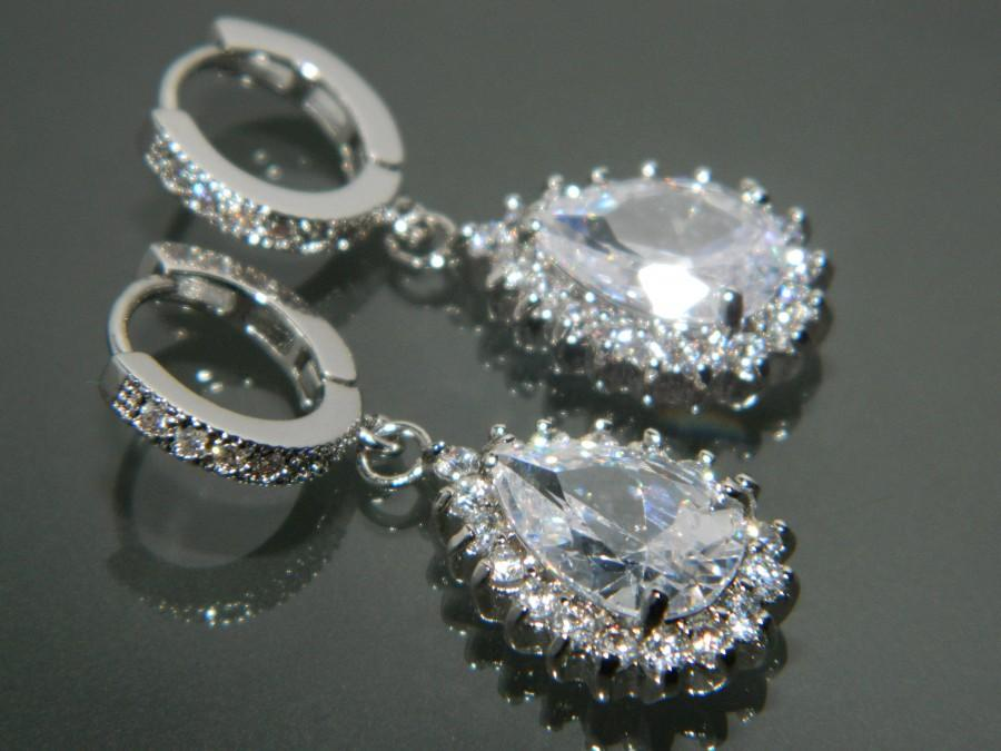 Wedding - Bridal Cubic Zirconia Halo Earrings Wedding Crystal Earrings Clear CZ Hoop Earrings Sparkly Silver Earrings Bridal Jewelry Prom Jewelry - $30.90 USD