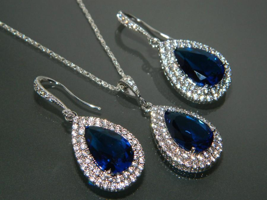 Wedding - Navy Blue CZ Bridal Jewelry Set Royal Blue Earrings&Necklace Set Dark Blue Jewelry Set Prom Jewelry Bridesmaid Jewelry Blue CZ Jewelry Sets - $28.90 USD