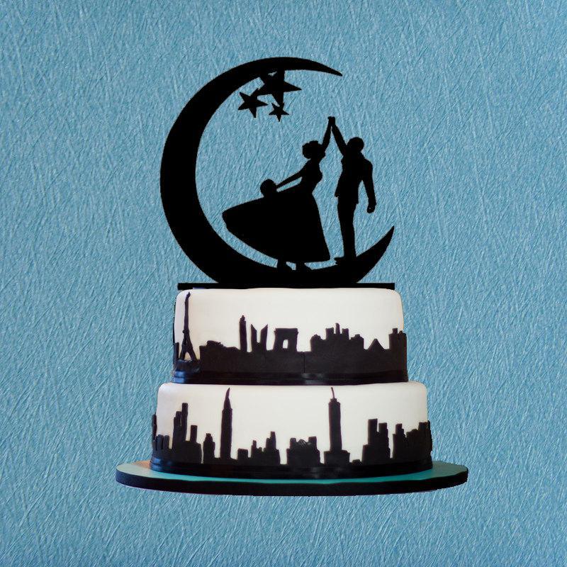 Hochzeit - Bride & Groom Danceing on the Moon Wedding Cake Topper With Star,Wedding Cake Topper-Danceing on the Moon Wedding,Romantic Cake Topper