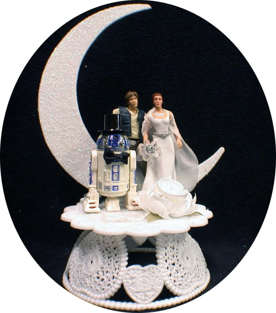 "Hochzeit - R2-D2 , Han Solo and Princess Leia Star War ""YOU PICK"" Wedding Cake Topper or Glasses, Knife Server or BOOK"