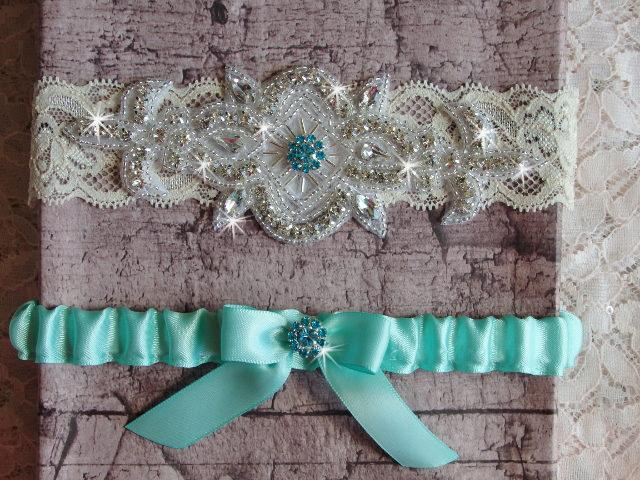 Свадьба - Aqua Blue Wedding Garter Set, Wedding Dress, Lace and Satin Bridal Garter, Something Blue Garter, Rhinestone Garter, Wedding Garder