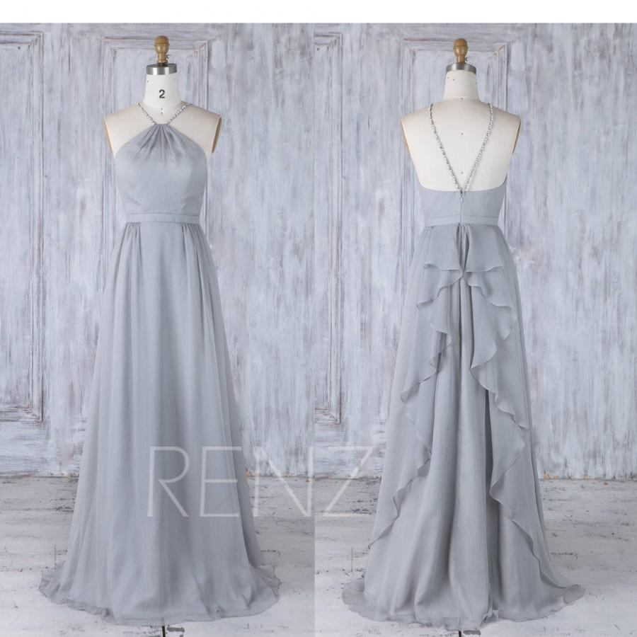 427aa3bf480f4 2017 Gray Chiffon Bridesmaid Dress, Beading Halter Straps Wedding Dress,  Ruffled Skirt Prom Dress, A Line Evening Gown Floor Length (J232)