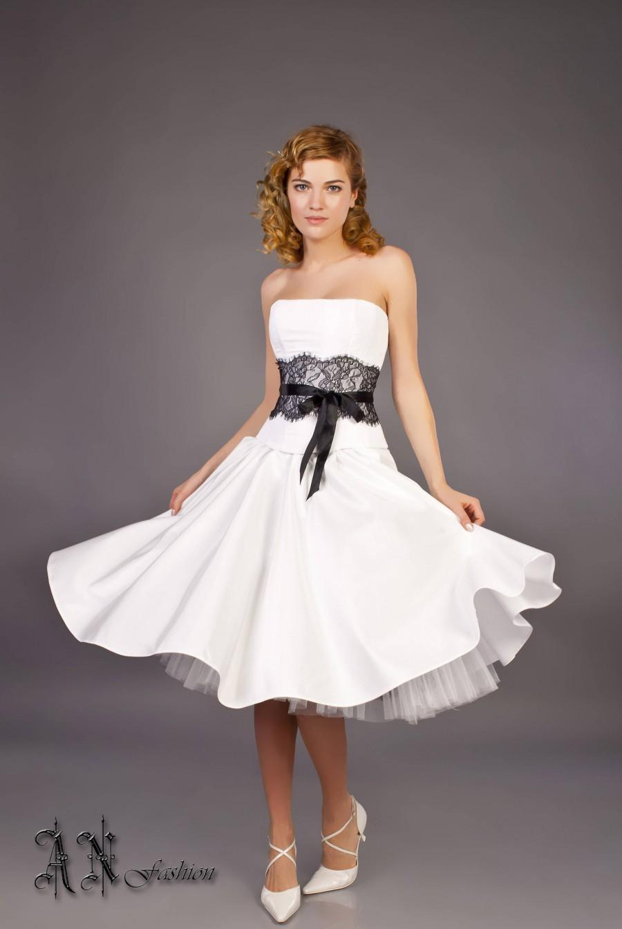 Black white a line wedding dress short wedding dress for Black tea length wedding dress