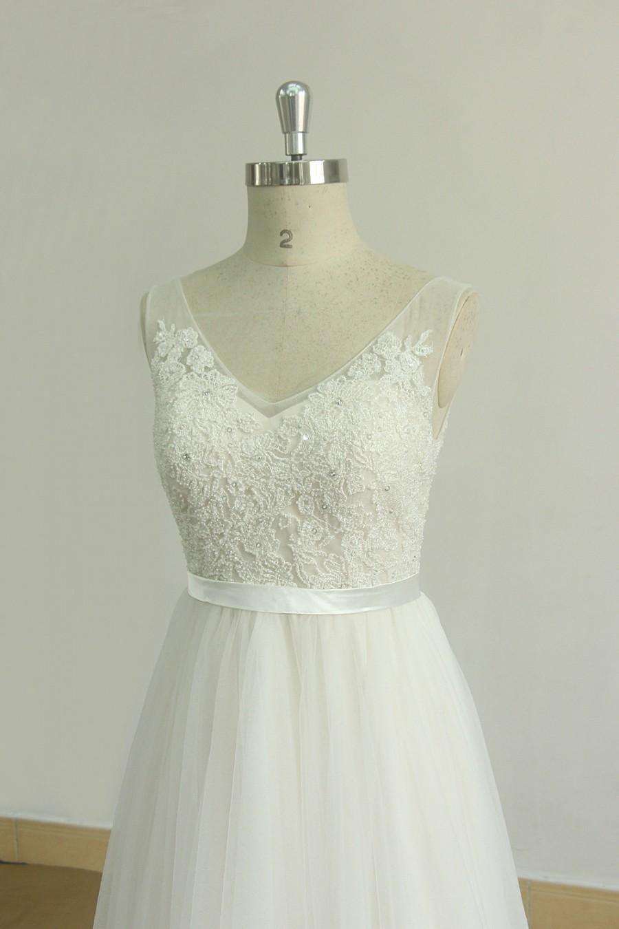 Open back romantic ivory a line lace beach wedding dress for A line lace open back wedding dress