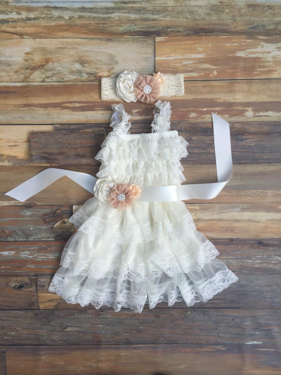 Wedding - Flower girl dress, ivory lace girls dress, toddler lace dress, birthday dress, girls chiffon dress,
