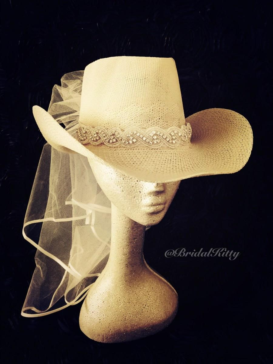 bb662be7950 Country Bachelorette Party Western Cowgirl Hat Veil Crystal Headband Tiara  Crown Bridal Shower White Bride To Be Hen Party Texas Wedding