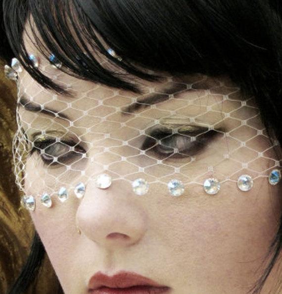 Wedding - ISABEL Bandeau Mask w/ Iridescent Swarovski Crystals & Ivory French Net Veil lace - by Moonshine Baby
