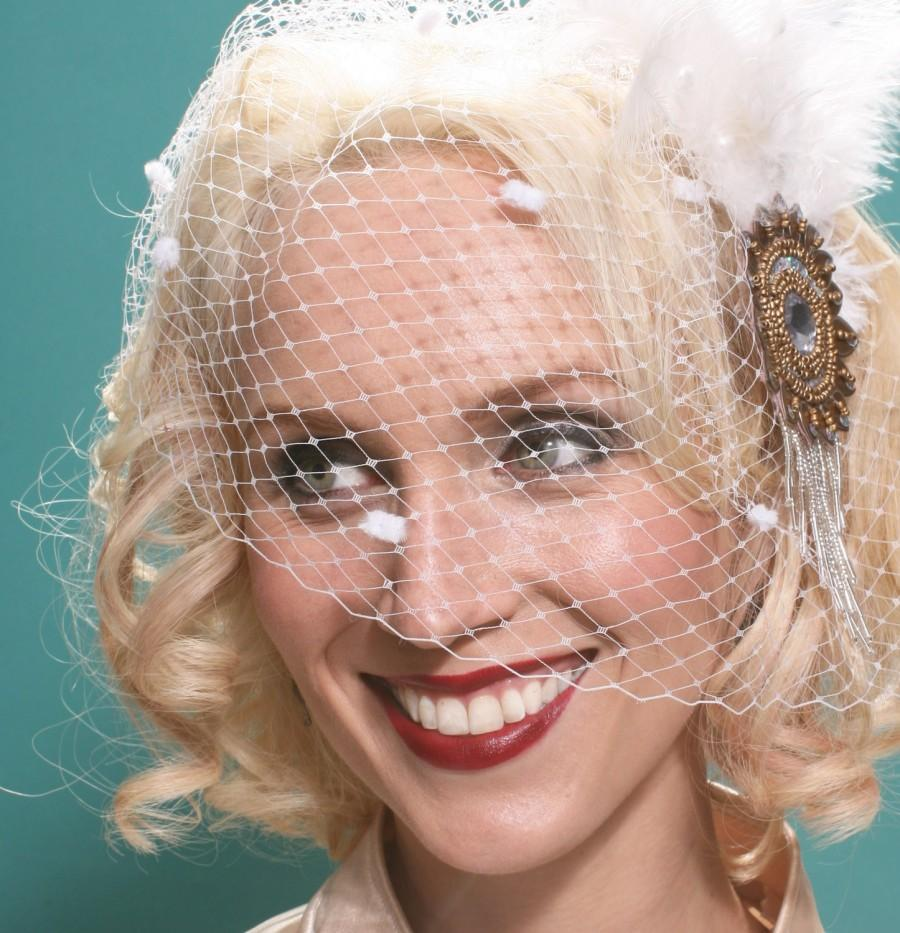 Wedding - LET IT SNOW White Birdcage Veil w/ Chenille Dots - Winter Bride Blusher- By Moonshine Baby