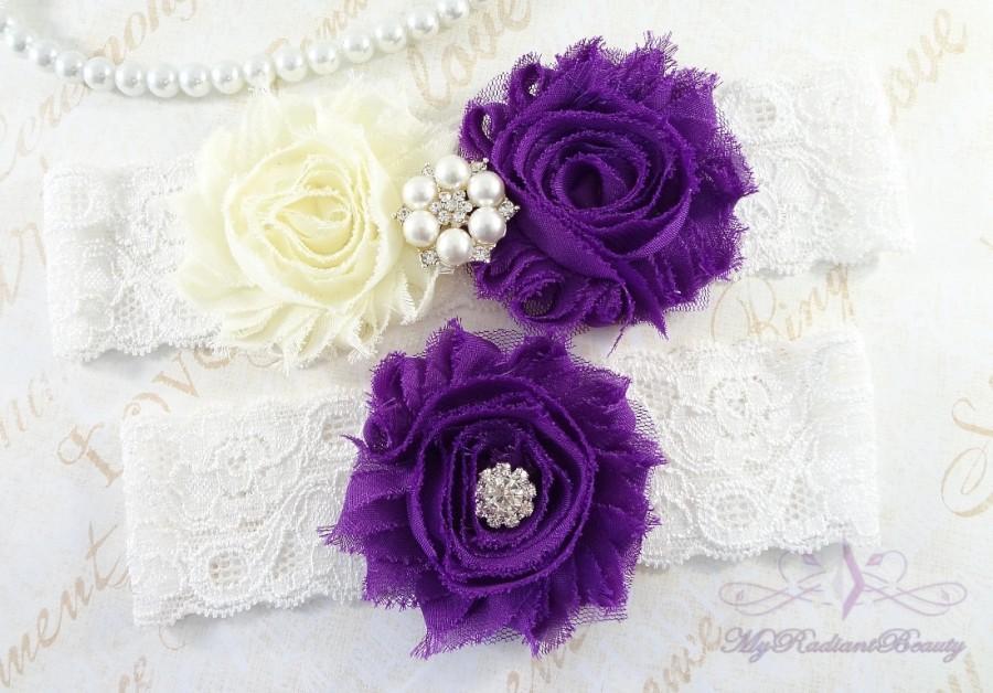 Свадьба - Wedding Garter Set, Bridal Garter, Belt, Shabby Chiffon Rosette Ivory Purple Garter, Sexy Garter, Handmade Garter, Wedding Garter GTF0026P