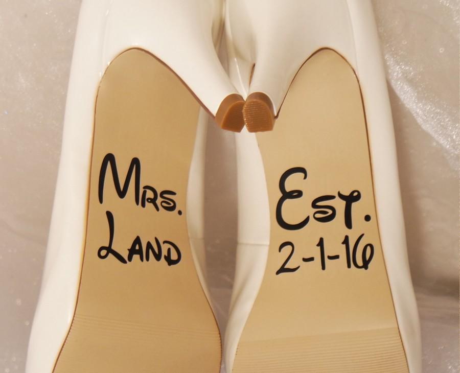 زفاف - Personalized Disney Wedding Shoe Decals, Shoe Decals for Wedding, Wedding Shoe Decals, Custom Shoe Decals, Vinyl Shoe Decals, Disney Wedding