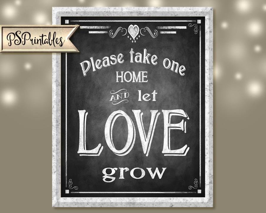 Wedding Favors Printable Chalkboard Sign Let Love Grow Instant Digital File Diy Rustic Collection Signage