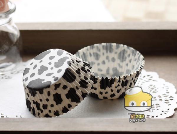 زفاف - Black and White Cow Cupcake Liners (50)