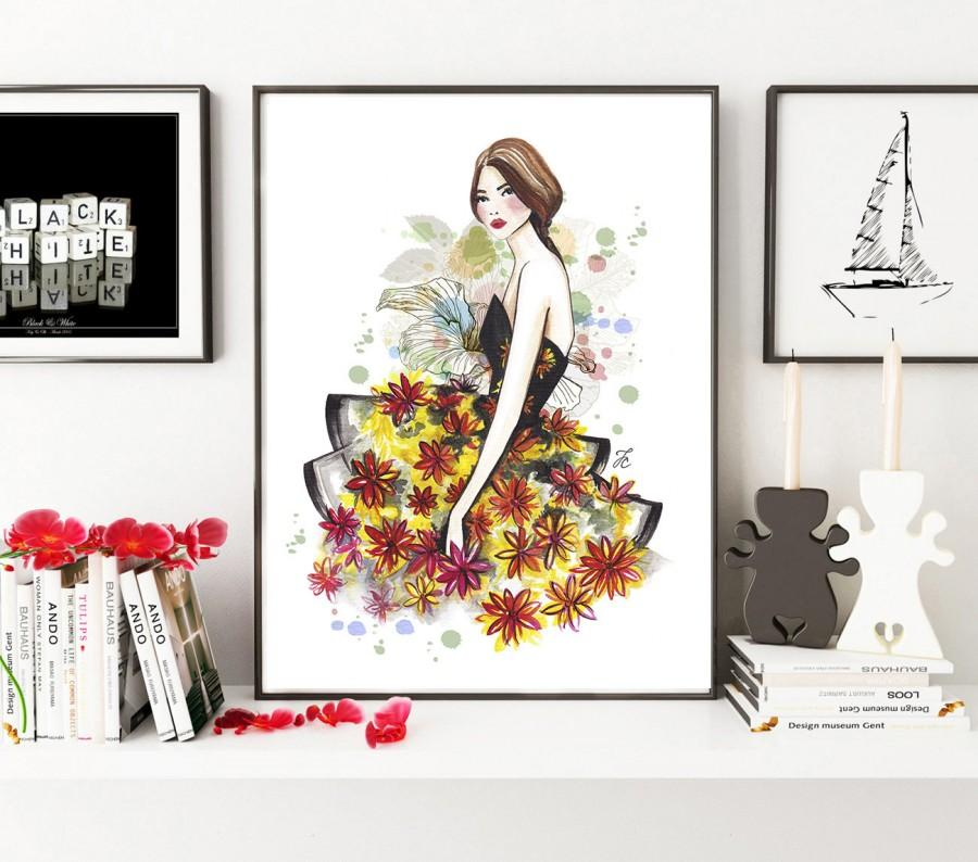Свадьба - Fashion girl art, Fashion print, Fashion artwork, Fashion sketch, Fashion illustration, Flower girl, Flower girl art, Watercolor print