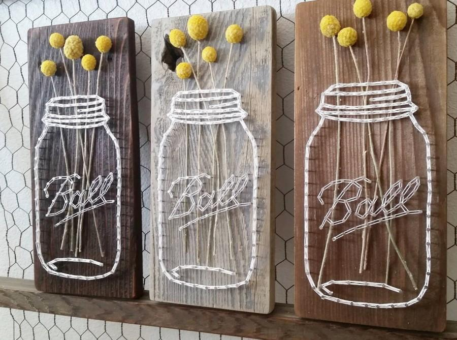 Mason Jar String Art Reclaimed Wood Sign Barn Real Dried Flowers Billy