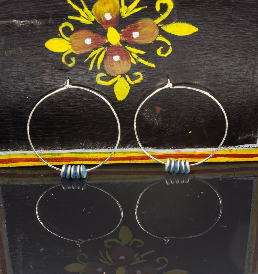 Hochzeit - Contemporary Earrings, Beaded Hoops, Modern Hoop Earrings, Minimalist Jewelry, Sterling Silver Hoops, Large Hoop Earrings, Big Silver Hoops