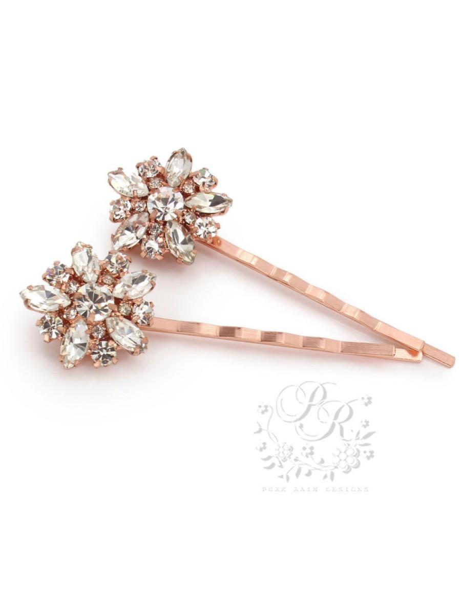 Mariage - Wedding Hair Pin set of 2 Rhinestone Bobby Pin Bridal Bobby Pin Wedding Accessory Rose gold hair pins Bridesmaid Gifts Bridesmaid Pins daisy